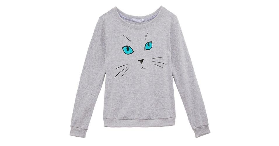 Moletom Market 33 cinza com estampa de gatinho e modelagem solta; R$ 149, na OQVestir (www.oqvestir.com.br) Preço pesquisado em setembro de 2012 e sujeito a alterações