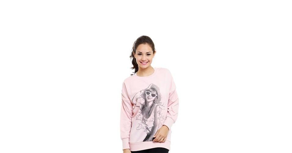 Moletom rosa comprido com silk na frente e detalhe franzido no ombro; R$ 19,99, na Marisa (www.marisa.com.br) Preço pesquisado em setembro de 2012 e sujeito a alterações