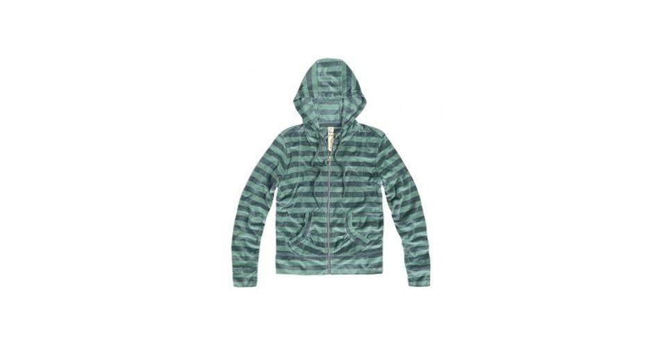 Moletom verde listrado em plush com zíper e capuz; R$ 99,90, na Hering (www.heringwebstore.com.br) Preço pesquisado em setembro de 2012 e sujeito a alterações