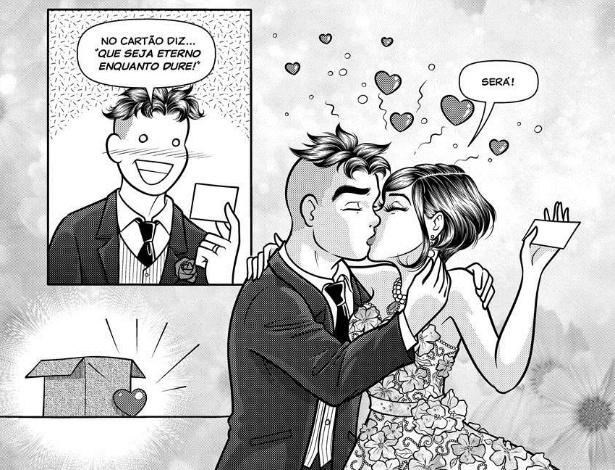 Página da HQ que mostra o casamento de Mônica e Cebolinha