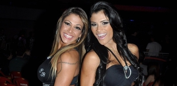 Sabrina Soares e Marissol Dias posam antes da 1 edio do Quality Fighting Championship em Araatuba (SP)