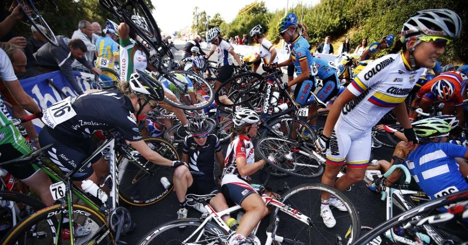 Mundial de Ciclismo Estrada, disputado na Holanda, foi marcado por um acidente que envolveu diversas atletas