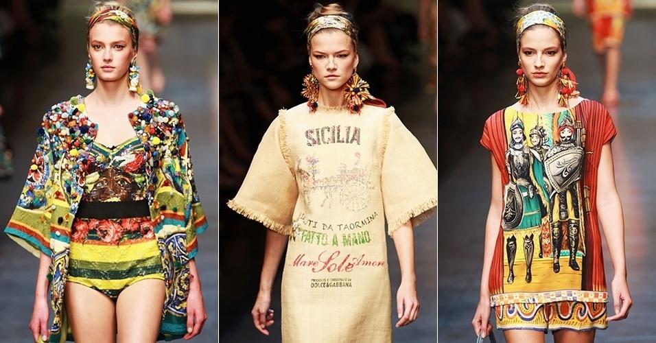 Looks de Dolce & Gabbana para o Verão 2013 durante a semana de moda de Milão (23/09/2012)