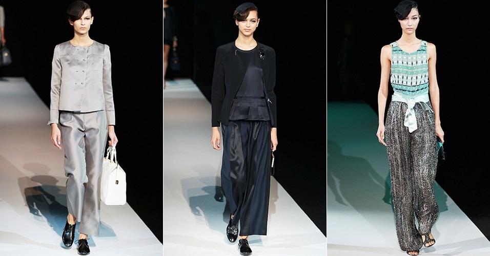 Looks de Giorgio Armani para o Verão 2013 durante a semana de moda de Milão (23/09/2012)
