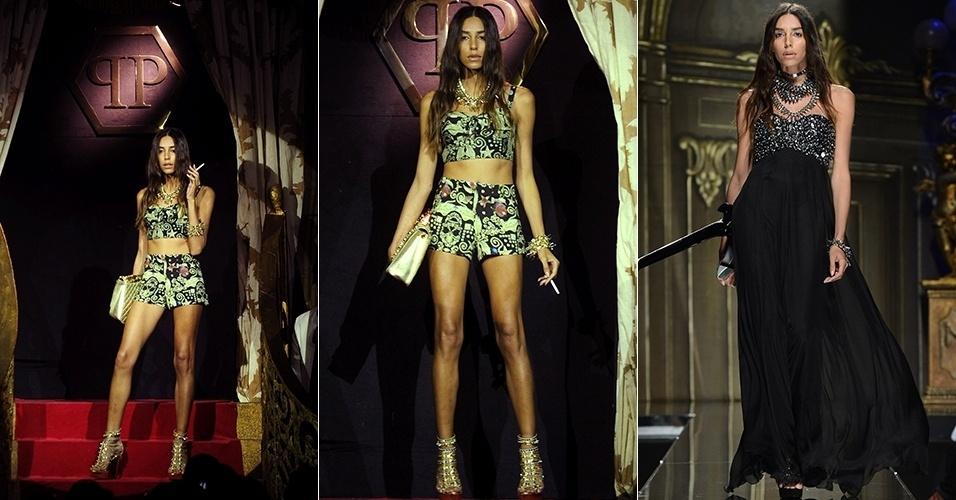 Lea T. desfila para Philipp Plein durante a semana de moda de Milão para o Verão 2013 (22/09/2012)
