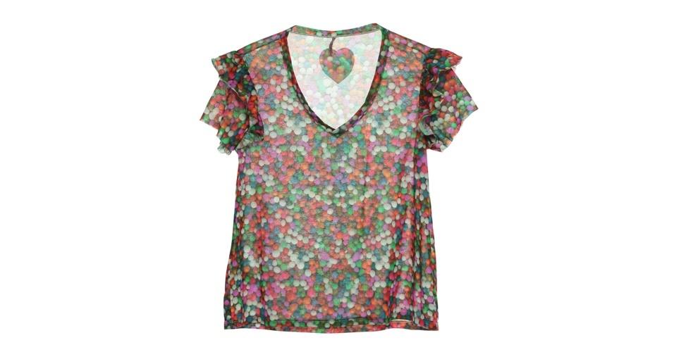 Camiseta estampada com babados nas mangas; R$ 99, na Damyller (www.dmylr.com.br). Preço pesquisado em setembro de 2012 e sujeito a alterações
