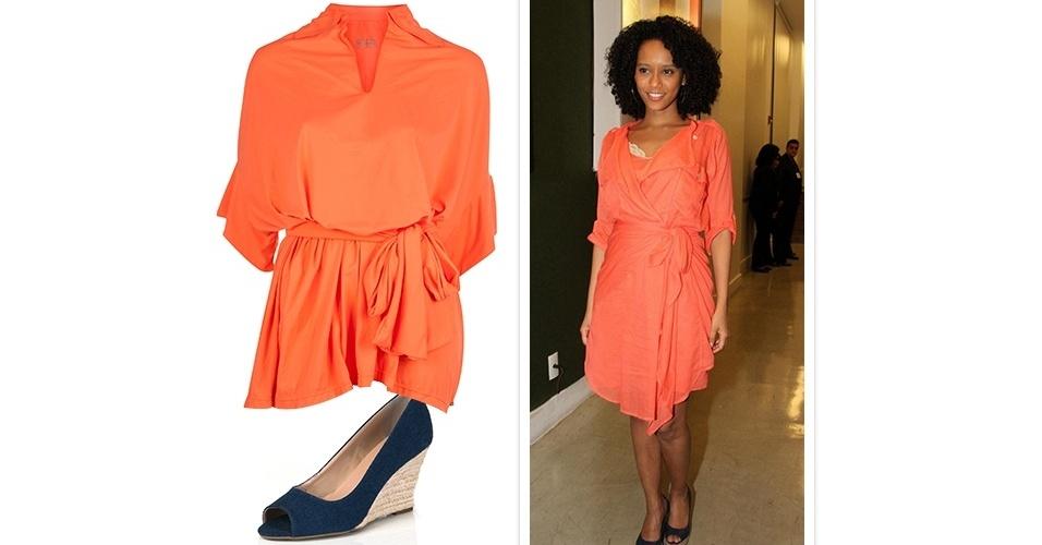 O vestido coral usado pela atriz é despojado e bem soltinho no corpo. A peça é eclética e pode ser usada com rasteirinha para um look casual, ou com um sapato alto para ocasiões mais formais