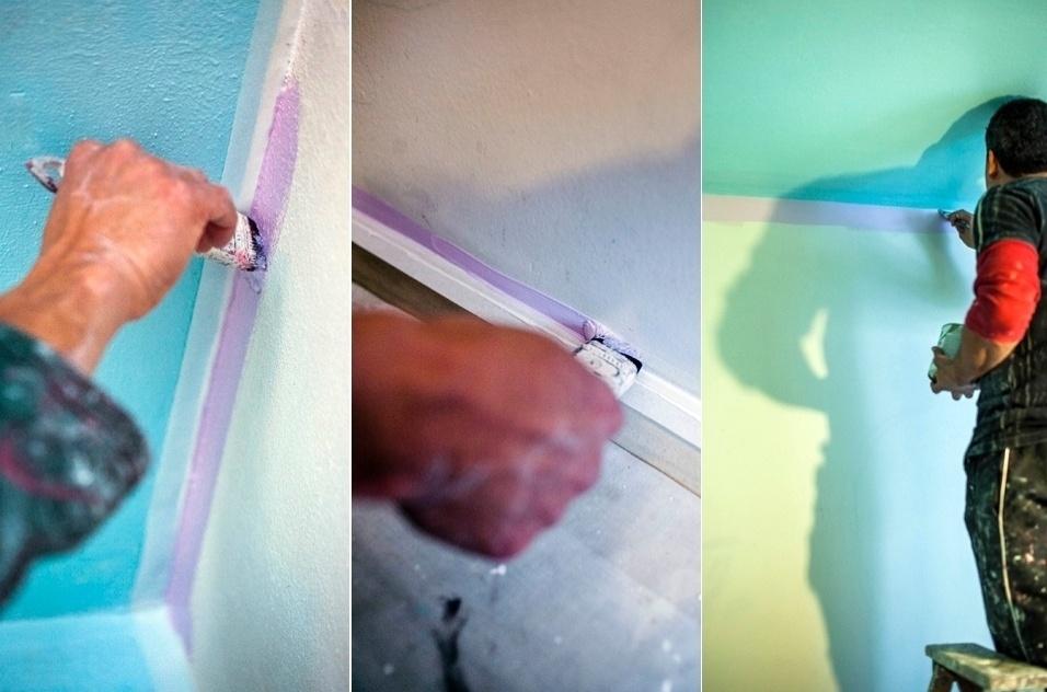 Passo a passo: pintura em três cores (teto e parede)