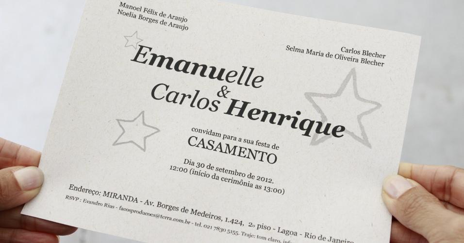 Convite de Emanuelle Araújo e Carlos Henrique. A festa foi na casa de show Miranda, na Lagoa, Rio de Janeiro