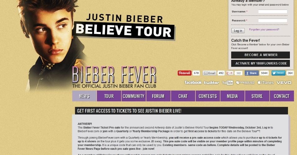BieberFever.com é um dos sites da empresa Artist Arena LLC
