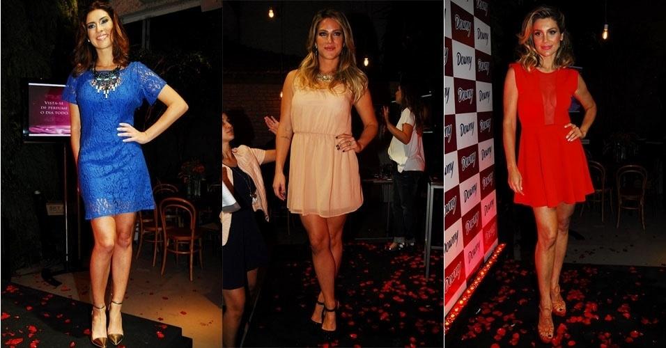 Giovanna Ewbank, Flávia Alessandra e Fernanda Paes Leme participam de desfile de moda para promover marca de amaciante em São Paulo (3/10/12)