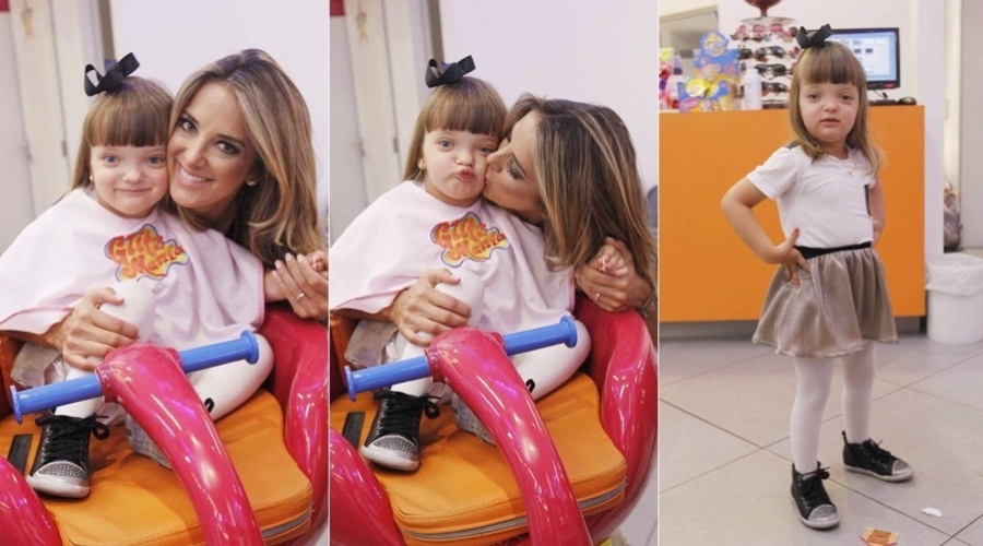 A apresentadora Ticiane Pinheiro levou a filha Rafaella Justus a um salão de beleza localizado na zona oeste de São Paulo (4/10/12)