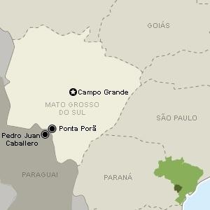 Localização de Ponta Porã (MS), na fronteira