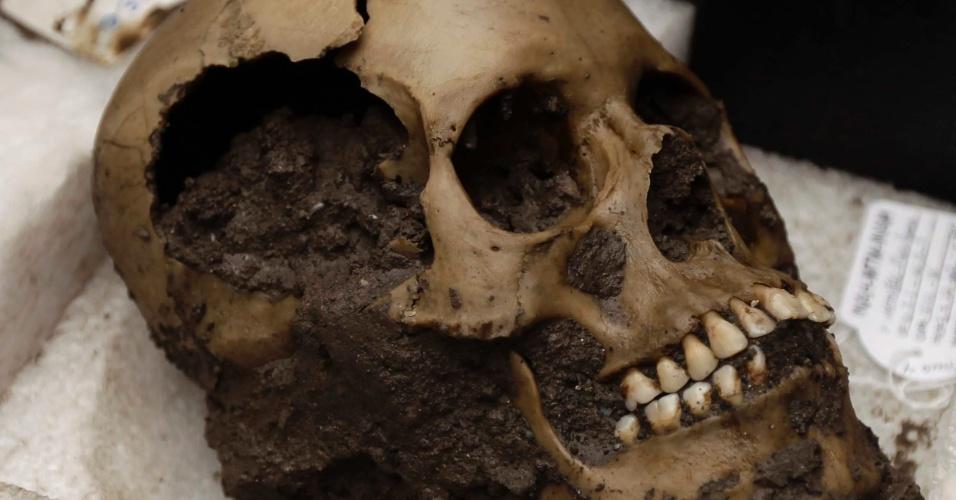 5.out.2012 - Arqueológos divulgaram nesta sexta-feira (5) que foram encontrados 45 crânios e mais de 200 mandíbulas em um sítio arqueológico no México. Os restos estavam próximos das ruínas de um templo maia, que era usado para cerimônias religiosas e sacrifícios humanos - que, hoje, fica bem no coração da Cidade do México