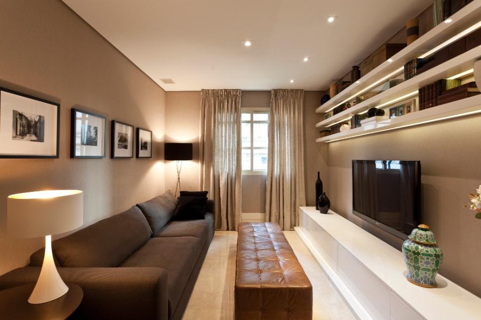 Sala De Tv Estreita ~ sala de TV, projetada por Maurício Karam para o Apartamento Vila