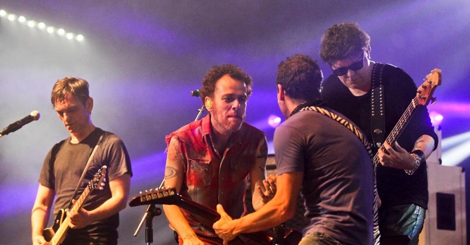 Paulo Miklos, Nando Reis, Tony Bellotto e Branco Mello em show de 30 anos do Titãs, em São Paulo. (6/10/2012)