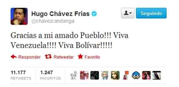 8.out.2012 - Presidente da Venezuela, Hugo Chávez, comemora reeleição