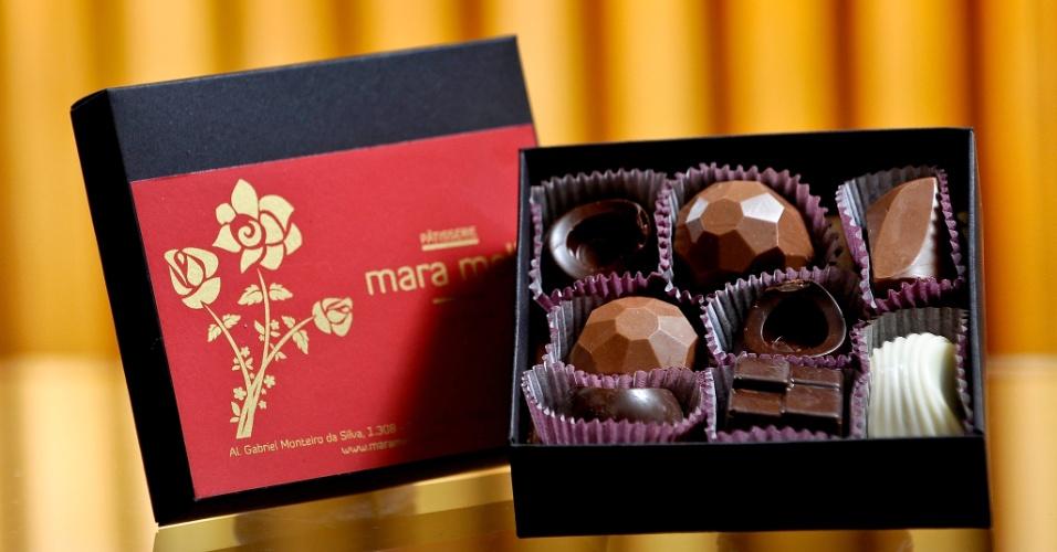 Bombons finos; da Mara Mello (www.maramello.com.br), a partir de R$ 27 (caixa com oito unidades). Disponibilidade e preço sujeitos a alterações. Pesquisa realizada em outubro de 2012