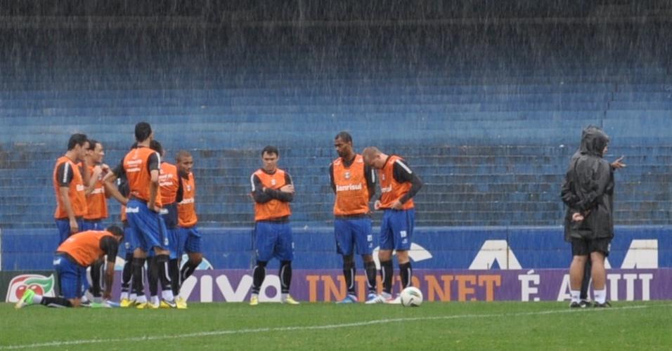 Titulares do Grêmio se preparando para coletivo debaixo de chuva