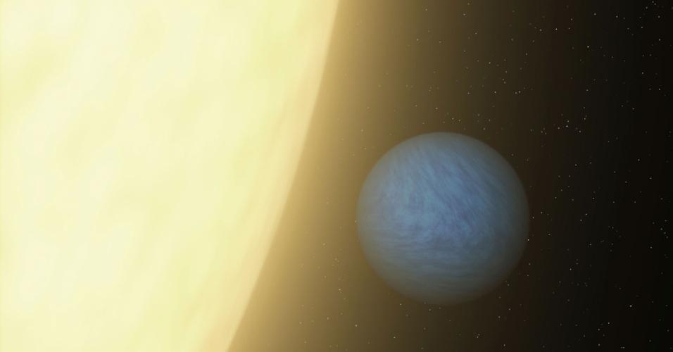 """11.out.2012 - Concepção artística mostra o planeta 55 Cancri ao lado de sua estrela, a apenas 40 anos-luz de distância da Terra. Cientistas descobriram que esse planeta """"vizinho"""", com o dobro do tamanho do nosso, é composto basicamente de diamante e grafite"""