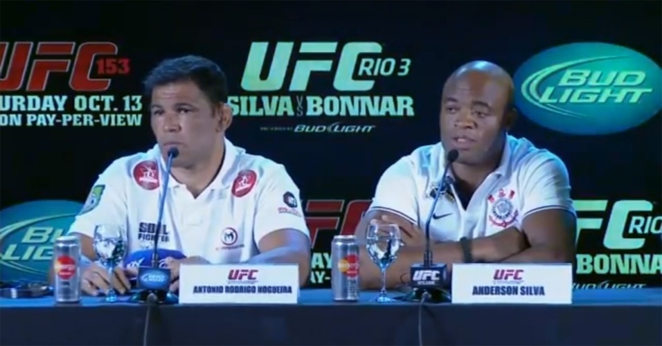 Anderson Silva e Rodrigo Minotauro participam da coletiva do UFC Rio 3
