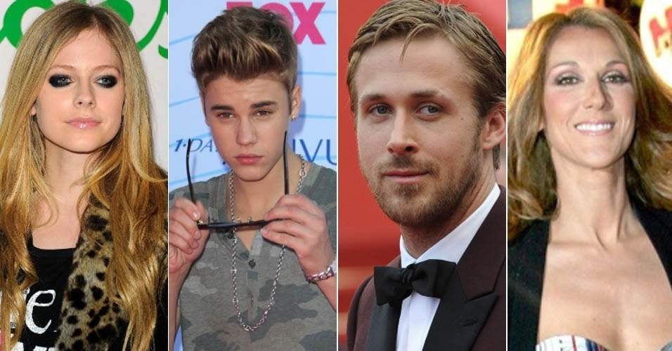 Os canadenses Avril Lavigne, Justin Bieber, Ryan Gosling e Celine Dion, que seriam primos distantes, segundo a genealogia