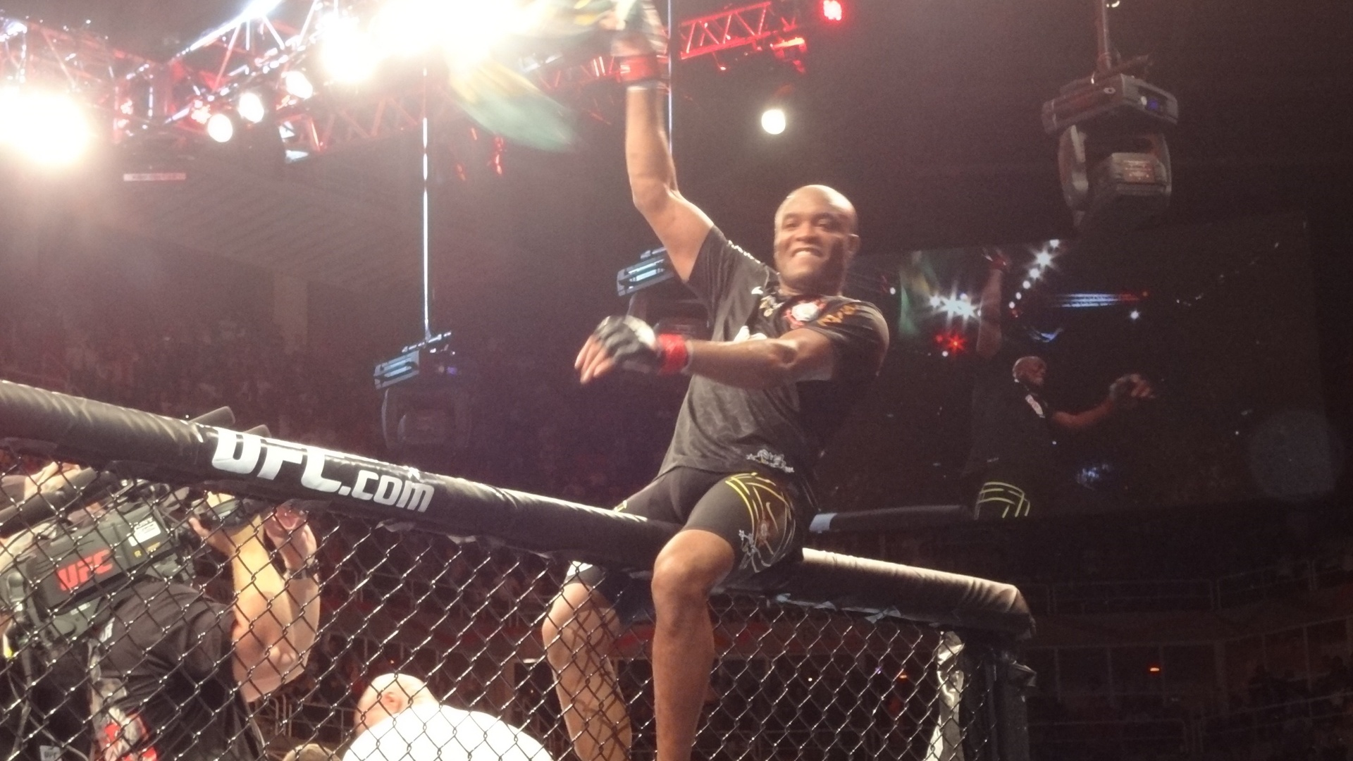 Anderson Silva sobe na grade do octgono e comemora vitria sobre o americano Stephan Bonnar