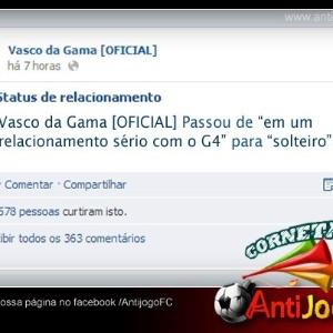 Corneta FC: Vasco termina com G4 e altera o status no Facebook
