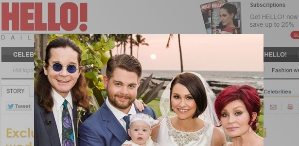 Jack Osbourne se casou com Lisa Stelly no Hava. Na imagem ele aparece ao lado da filha, Pearl, e dos pais, Ozzy e Sharon