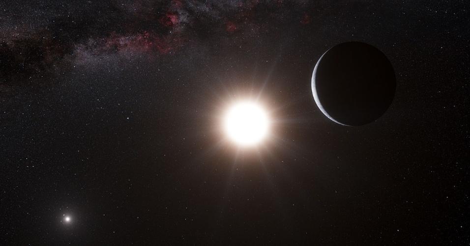 16.out.2012 - Astrônomos europeus divulgaram nesta terça-feira (16) que acharam um planeta com massa similar à da Terra na órbita de uma das estrelas do sistema de Alfa Centauri, o mais próximo do nosso planeta. Após quatro anos de observação, a equipe detectou pequenos desvios no movimento da estrela Alfa Centauri B, criados pela atração gravitacional de um planeta. O efeito é pequeno, mas faz a estrela se deslocar para a frente e para trás a 51 centímetros por segundo (cerca de 1,8 km/hora), ou velocidade parecida com a de um bebê engatinhando