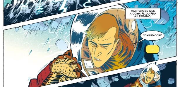 """""""Astronauta - Magnetar"""" tem roteiro e arte de Danilo Beyruth e colorida por Cris Peter. A revista é a primeira do selo Graphic MSP, que terá os personagens de Maurício de Sousa transformados em graphic novels"""