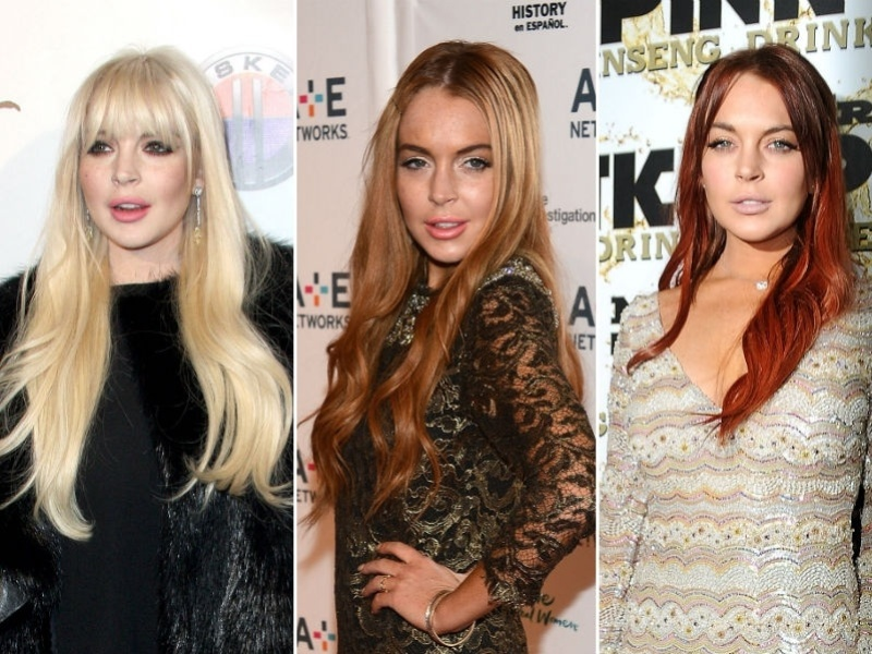 Lindsay Lohan com cabelo ruivo escuro