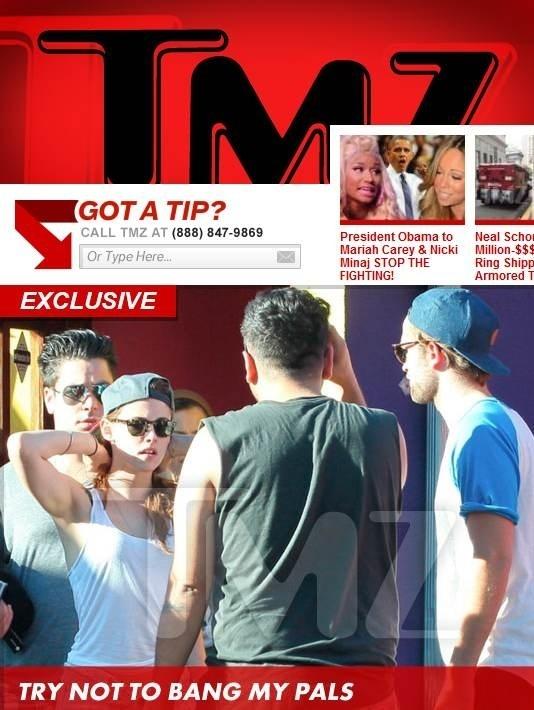 Robert Pattinson e Kristen Stewart são vistos em saída de restaurante (15/10/12)