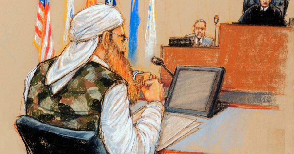 17.out.2012 - Esboço aprovado pelo Pentágono mostra o suposto mentor dos ataques de 11 de Setembro, Khalid Sheikh Mohammed, vestindo um colete camuflado durante audiência pré-julgamento por crimes de guerra, realizada nesta quarta-feira (17) na base americana de Guantánamo, em Cuba