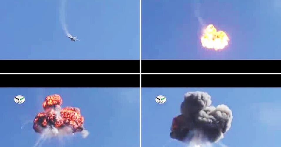 17.out.2012 - Montagem com imagens retiradas de um vídeo disponível no YouTube nesta quarta-feira (17) mostra um helicóptero da Força Aérea síria, supostamente derrubado por membros do exército rebelde sobre a estrada entre Damasco e Aleppo, segunda cidade mais importante do país