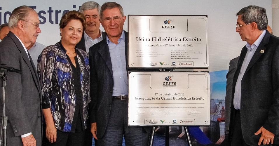 17.out.2012 - Presidente Dilma Rouseff participa de inauguração de usina acompanhada do presidente do Senado, José Sarney (esquerda)