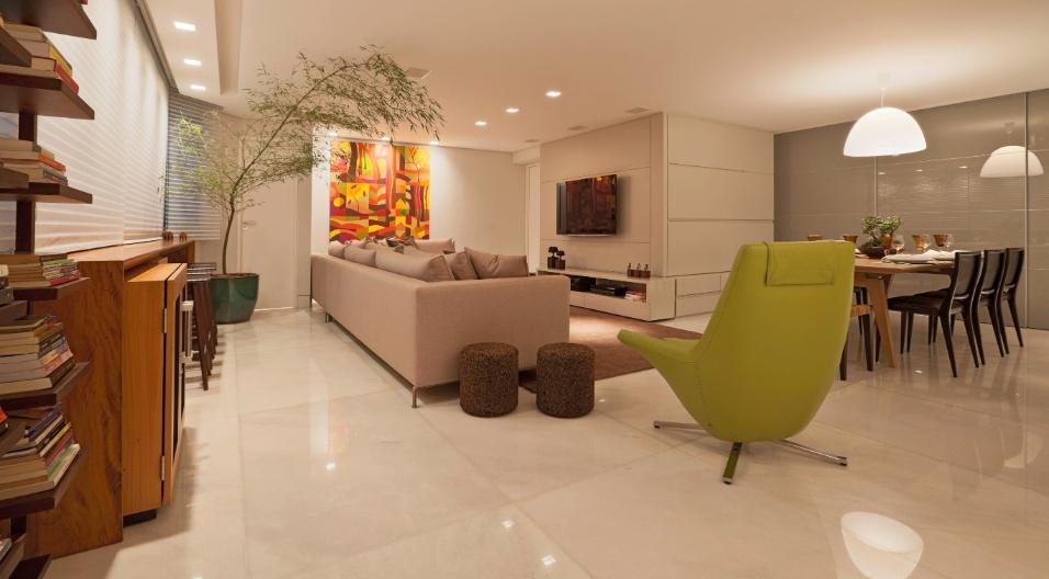 Sala De Estar Integrada Com Jantar ~ As salas de estar e jantar integradas foram pensadas para um homem que
