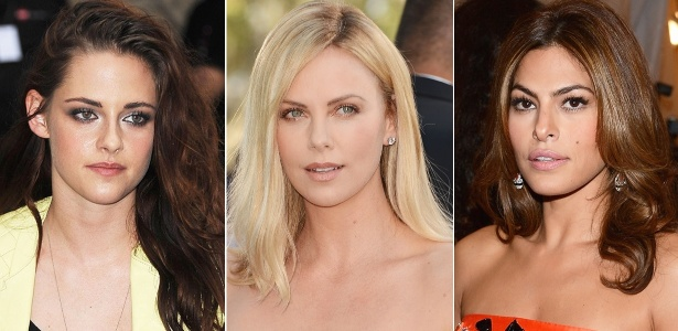 Kristen Stewart, Charlize Theron e Eva Mendes exibem mechas com as cores da temporada
