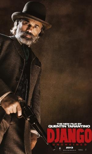 "O ator Christoph Waltz estampa o cartaz internacional de ""Django Livre"", de Quentin Tarantino"