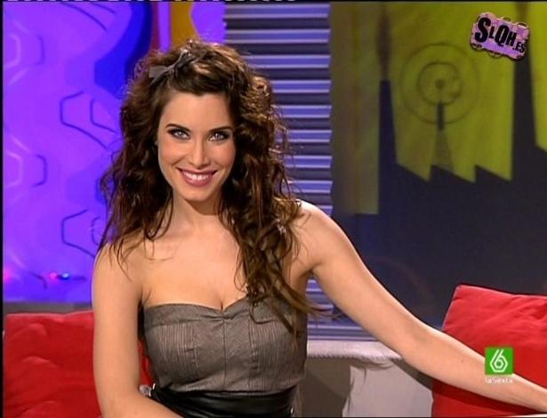 Pilar Rubio em ação durante programa de televisão da Espanha. Ela é apresentadora, modelo e atriz e namorou com Sergio Ramos, jogador do Real Madrid