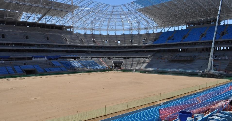 Arena do Grêmio vista da arquibancada para o campo de jogo