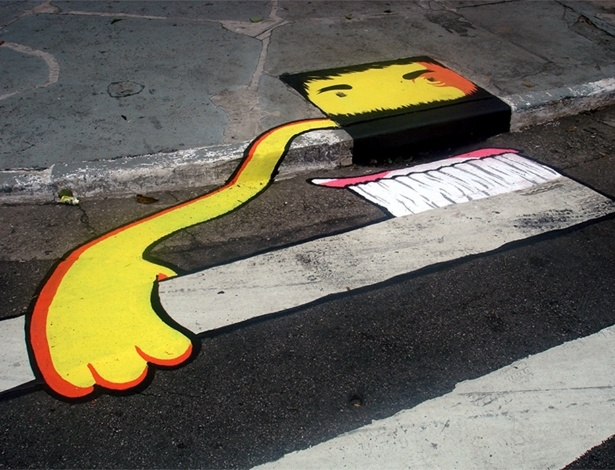 Boca de lobo pintada pelo coletivo 6eMeia, no bairro da Barra Funda, em São Paulo