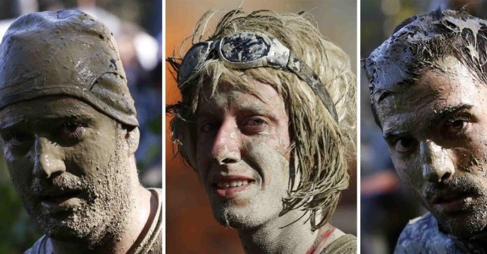 Montagem mostra competidores sujos de lama após a disputa da prova de 50 km Wild Boar Dirt Run, uma tradição anual na Áustria