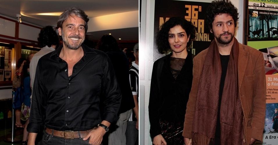 O ator Alexandre Borges (esq.) e o casal de atores Letícia Sabatella e Fernando Alves Pinto foram à exibição do documentário