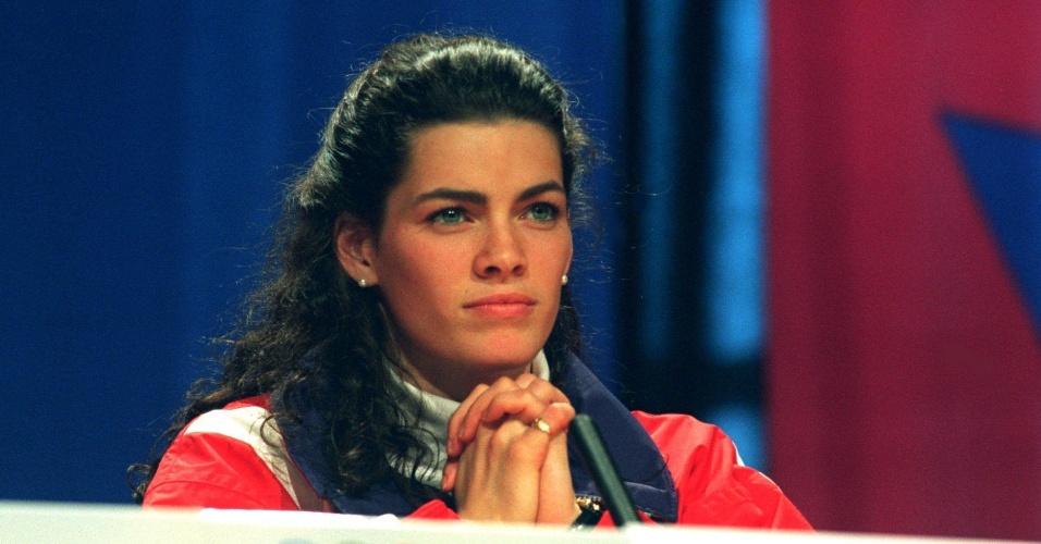 Patinadora americana Nancy Kerrigan concede entrevista em Lillehammer, na Noruega, sede das Olimpíadas de Inverno de 1994