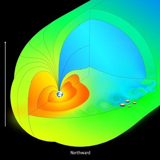 24.out.2012 - Os satélites da missão Cluster, da ESA (Agência Espacial Europeia), detectaram que a magnetosfera age como uma peneira, permitindo a entrada contínua do vento solar em diferentes locais e nas mais diferentes condições do campo magnético. A magnetosfera é a primeira linha de defesa da Terra contra o bombardeio da radiação do Sol