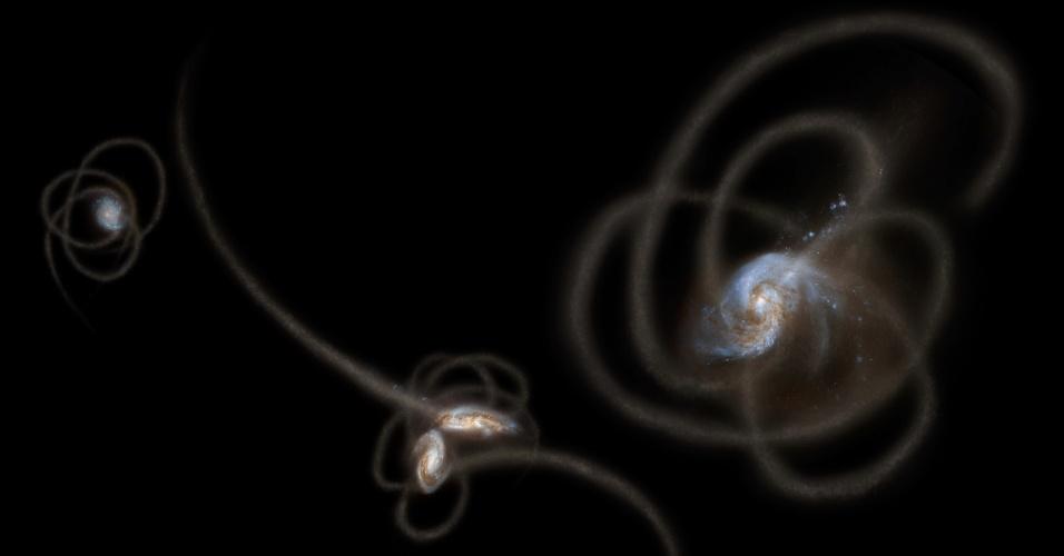 25.out.2012 - Uma nova pesquisa da Nasa (Agência Espacial Norte-Americana) sugere que estrelas arrancadas de suas galáxias ficam presas em casulos invisíveis de matéria escura. A descoberta anunciada nesta quinta-feira (25)  pode explicar a radiação misteriosa que marca boa parte do céu, e vista apenas em ondas infravermelhas, além de sugerir a matéria escura, área invisível que só pode ser detectada indiretamente pela força gravitacional que exerce ao seu redor, não é tão escura como os astrônomos pensavam anteriormente.