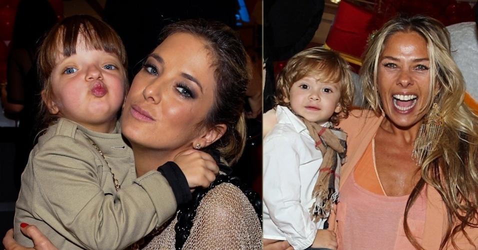 Rafaella Justus manda beijinhos para os fotógrafos ao lado da mãe, Ticiane Pinheiro, em festa infantil em São Paulo que também contou com a presença de Adriane Galisteu e o filho Vittorio (26/10/12)