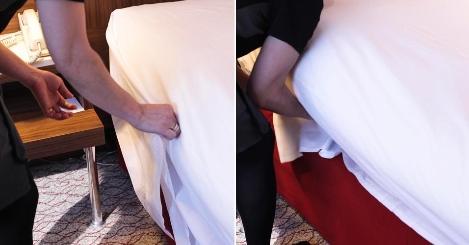 Depois de colocar embaixo do colchão as laterais do lençol próximas ao pé da cama, também dobre o lençol junto à cabeceira. Para auxiliar na colocação desta parte, puxe a ponta do lençol para cima, em um ângulo de aproximadamente 45º e ponha por debaixo do colchão.