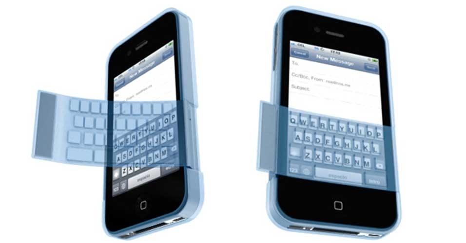 30.out.2012 - Essa capa de iPhone é para aqueles usuários que ainda não se acostumaram a escrever na tela sensível ao toque. Por isso, ela tem uma camada que pode ser colocada sobre o teclado, permitindo assim que a digitação fique mais parecida com a de um celular com teclas. Se bem que, para quem gosta de teclados, um Blackberry pode ser melhor opção que um iPhone. Trata-se de um protótipo da empresa de design NOS, sem data de lançamento